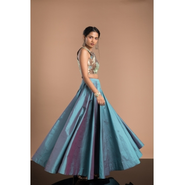 Blue-taffeta-crop-top-&-skirt